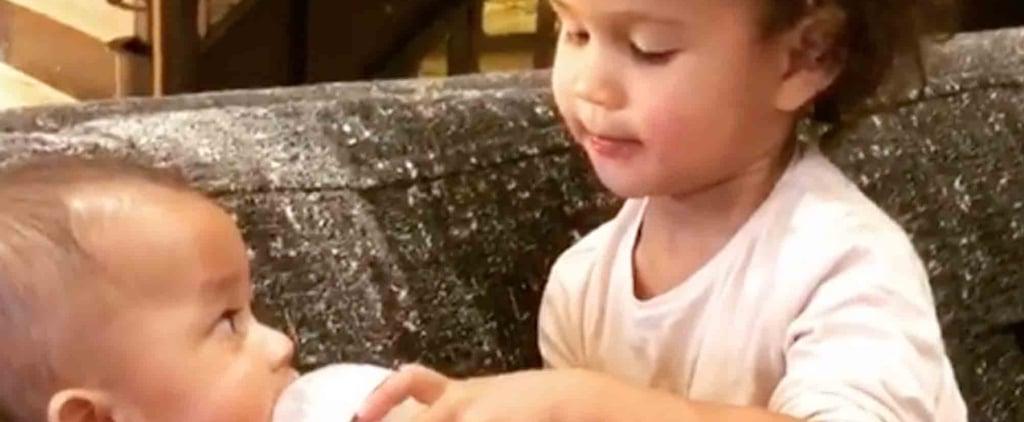 Chrissy Teigen's Video of Luna Feeding Miles