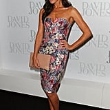 """We love Megan Gale in this quilted, floral Zimmermann dress. The words """"quilted"""" and """"floral"""" don't normally appear in best-dressed lists, but Megan makes this get-up look classy, fun, refined and youthful all at once. We're desperate for Spring after seeing her in this, aren't you?"""