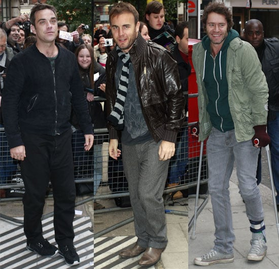 Pictures of Gary Barlow Robbie Williams Mark Owen Jason Orange Howard Donald Take That at Radio 2 Steve Wright Show