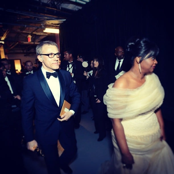 All eyes were on Christoph Waltz (and Octavia Spencer) backstage at the Oscars after his win for best supporting actor.  Source: Instagram user theacademy