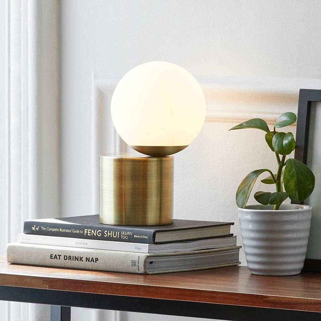 Rivet Modern Glass Globe Table Desk Lamp