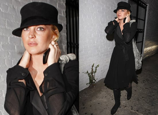 Photos of Lindsay Lohan in Black hat and Coat Dress in Los Angeles