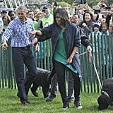 Barack got casual too, albeit with a polished button-down and trousers.