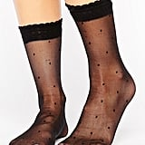ASOS Sheer Dotty Ankle Sock With Frills