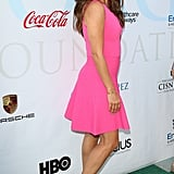 Eva Longoria Wearing a Pink Minidress