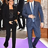 Meghan made a statement in this black Altuzarra suit at the WellChild Awards with Prince Harry, capped off with a sleek, sophisticated shoe: the Aquazurra Simply Irresistible Pump.