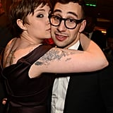 In January, Lena Dunham couldn't resist giving Jack Antonoff a kiss at the Golden Globes.