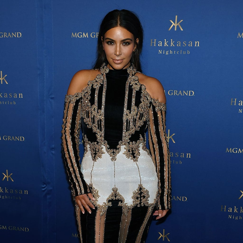 kim kardashian s balmain dress in vegas april 2016 popsugar fashion
