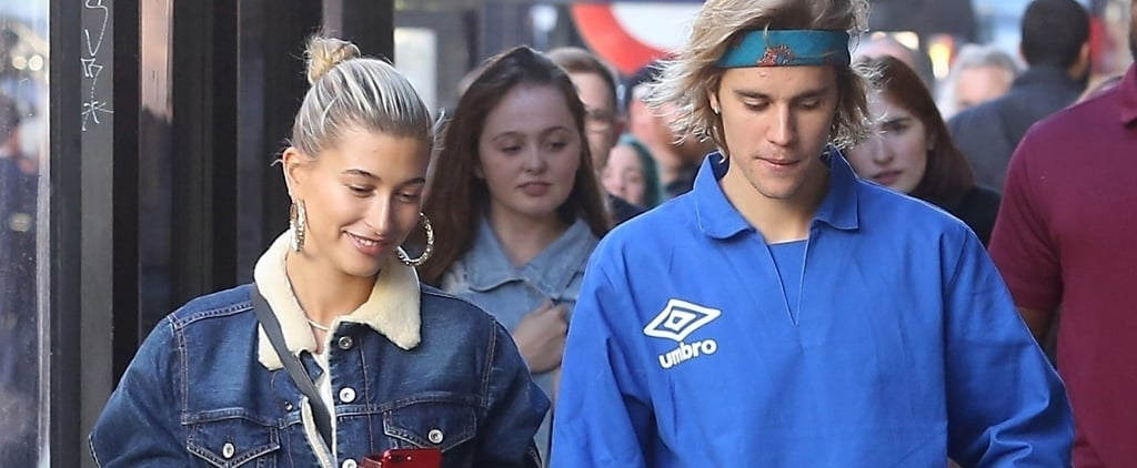 Hailey Baldwin Black Leather Pants With Justin Bieber 2018