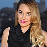 Lauren Conrad played host to a Malibu Rum event in New York wearing her hair in sideswept curls, which she complemented with black liner and hot-pink lipstick.