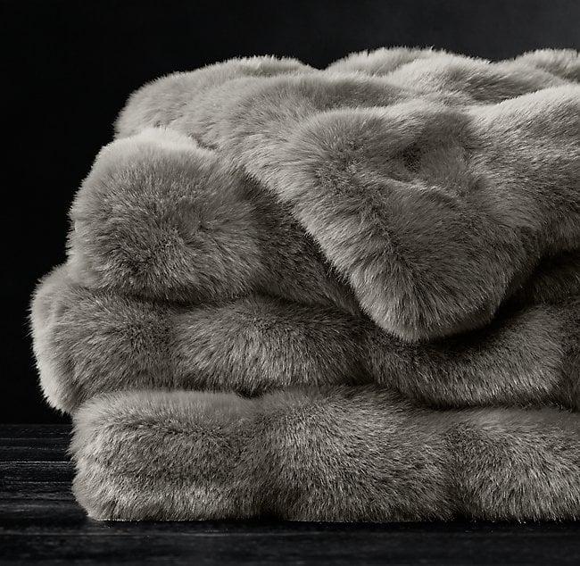 Restoration Hardware Ruched Faux Fur Throw  77392ff838015