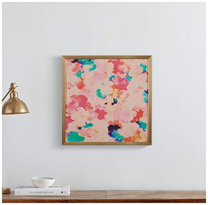 Spring Pink Floral Print in a Gold Wood Frame
