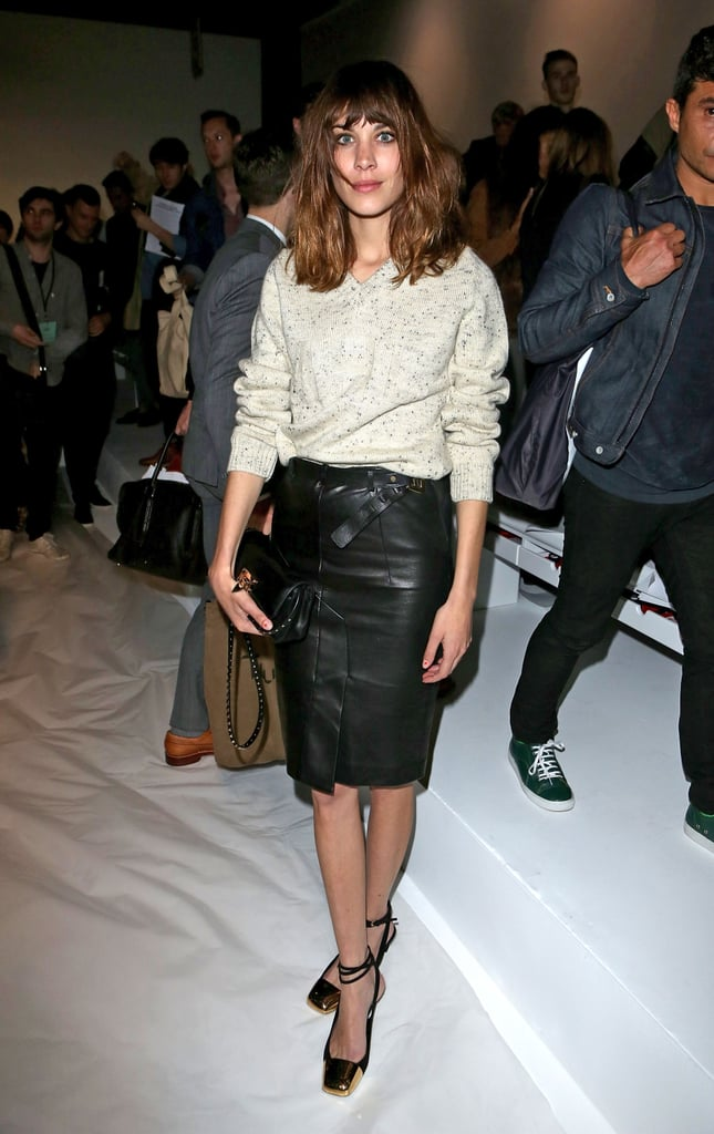 Alexa Chung reworked a leather pencil skirt for a laid-back event look — we're particularly drawn to those metallic lace-ups.