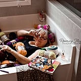 Grandma Poses For Boudoir Photo Shoot in Bathtub of Yarn