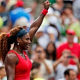 Serena Williams celebrated her victory after a match on day seven of the US Open.