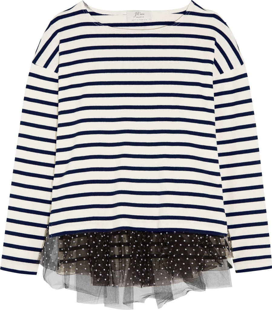 Polka-Dot Tulle-Trimmed Striped Jersey Top ($100)