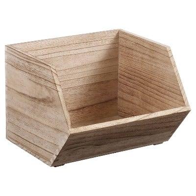 Small Stackable Wood Bin