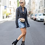 Tuck a Flannel Top Into a Skirt and Style It With a Leather Fanny Pack