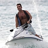 Pictures of Simon Cowell Jet Skiing Shirtless in the Caribbean