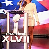 Beyonce belted out the national anthem live at the Super Bowl halftime show press conference on Thursday.