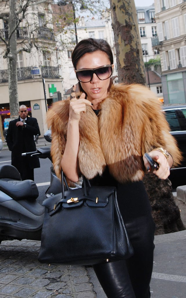 Contrast Frames That Look Just Right With Some Faux Fur and a Black Birkin Bag