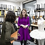 January: Kate got a special lesson in costume design at the Royal Opera House.