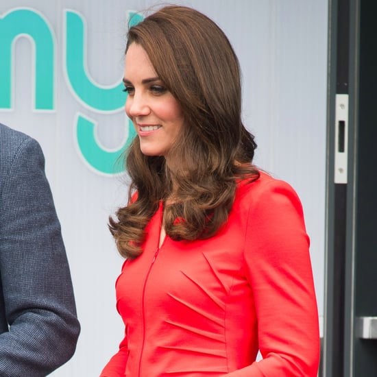 Kate Middleton Wearing Red Armani Suit