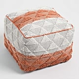 Orange Woven Triangle Indoor Outdoor Pouf