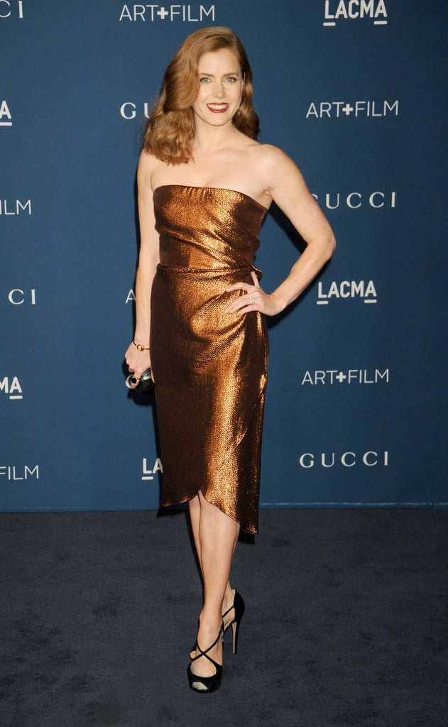 Amy Adams's bronze tulip-hem Gucci dress, paired with ...
