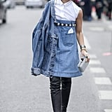 We could have predicted that style setter Miroslava Duma would be the one to take Chanel's little denim dress from the Spring '13 runway to the street.