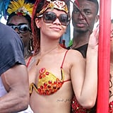 Rihanna partied with the crowd.