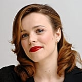 At a press conference for Wedding Crashers, Rachel paired her red hair with a bold crimson lipstick.