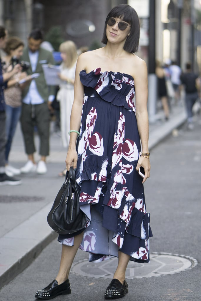 A Strapless Printed Dress With Loafers