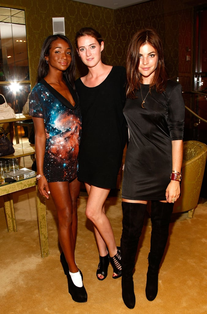 Genevieve Jones, friend in LBD, and Julia Restoin-Roitfeld