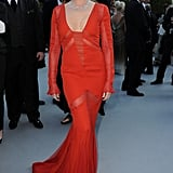 Kylie Minogue donned a red Emilio Pucci creation with gorgeous Chopard jewels at the amfAR gala.
