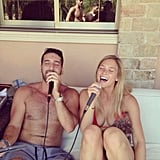 Bar Refaeli belted it out at a karaoke party.  Source: Instagram user barrefaeli