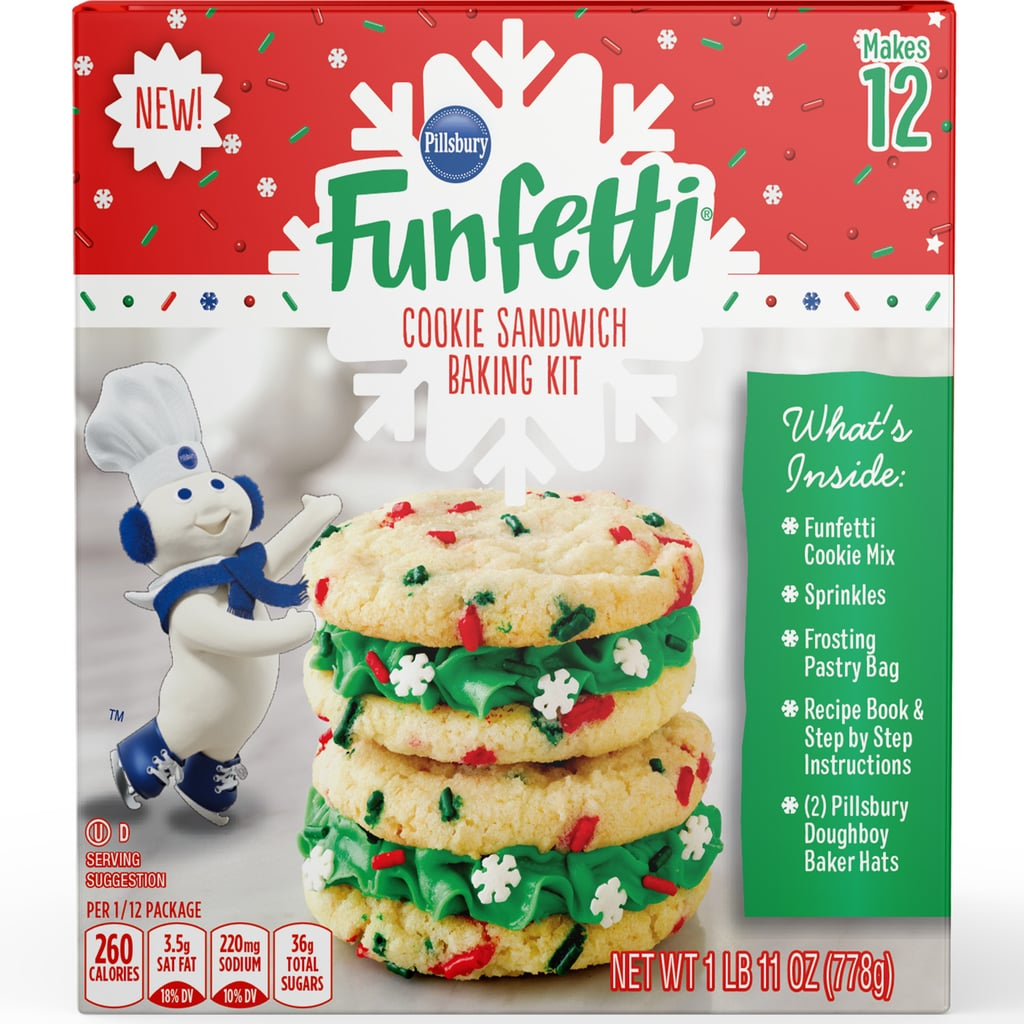 Crank up the holiday playlist and break out the mixing bowl, because Pillsbury has released two new Christmas cookie kits filled with icing and plenty of sprinkles for some serious holiday decorating. Both the Christmas Tree Cookie Kit and the Holiday Funfetti Sandwich Cookie Kit are available nationwide for $7-$8, depending on the location, and come with cookie mix, three cookie cutters, frosting, sprinkles, a pastry bag, and a recipe book. But the true holiday surprise? Each kit comes with two Pillsbury Doughboy hats to wear while you whip up the most festive cookies on the block!  Easier than decorating a gingerbread house and almost as fun as building a snowman, these holiday cookie kits look like they'd make a tasty stocking stuffer for the holidays. Take a closer look at the Christmas-themed treats for yourself or a family member ahead.