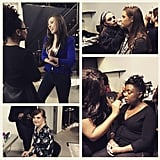 Jamie got her makeup done before the show (bottom left). I also got to interview one of the other models (top left).