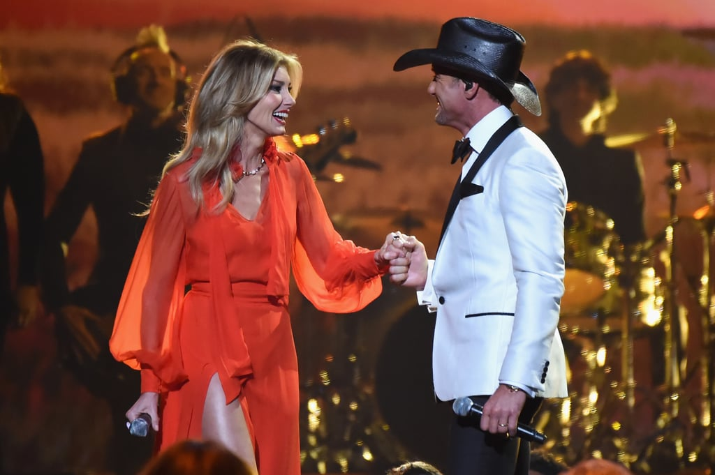 "Faith Hill and Tim McGraw have been one of country music's superstar couples for more than two decades. The pair tied the knot back in 1996, and since then, they've raised three daughters, dropped hit album after hit album, and continued to share the stage together. Tim and Faith are currently on the road for their Soul2Soul tour, and in an interview with People, they opened up about how they keep their marriage going strong 21 years later. They both agree that working together makes for some magical moments. ""It's such a rare thing to be able to experience what we do for a living, and to do it together, really feels like all the moments are special,"" Tim said. Faith added, ""I watch him perform and still to this day I'm awed by it."" When they aren't singing to sold-out crowds, the couple makes a point to prioritize date nights. ""Funny, as we get older it's less about the big gestures and more about just spending the time together at home,"" Tim said. ""For our 20th wedding anniversary, we stayed home in our pajamas and watched TV. We loved it."" Although they spend a lot of time together, Faith said they also have their alone time. ""We both have our daily routines and we have our own dressing rooms,"" she explained. ""We each have our own space to retreat to so we do get time to ourselves."" And before each show, they make a point to continue a special tradition. ""Tim and I share a quick quiet moment together before hitting the stage,"" Faith said. ""Always praying."" Keep reading for a look at some sweet then-and-now moments between Tim and Faith, then check out their cutest pictures from over the years.      Related:                                                                                                           Hollywood Couples Who Have Been Together the Longest"