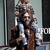 Shoulder rides going strong for Ryder Robinson and rocker dad Chris Robinson.
