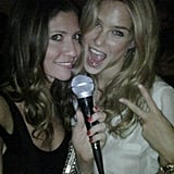 Bar Refaeli is on the mike for some karaoke.