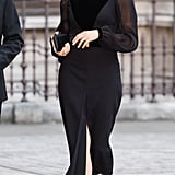 Meghan Markle Fall Outfit Idea: A Black Midi Dress with Sheer Sleeves