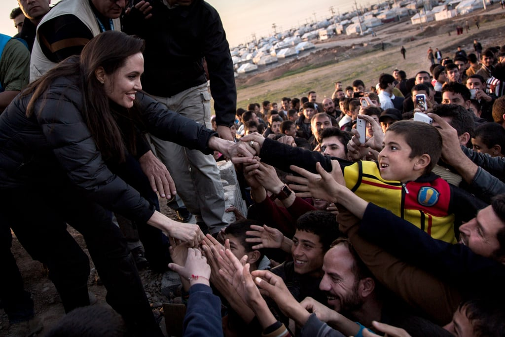"""Over the weekend, Angelina Jolie headed to Northern Iraq, where the actress and UN Special Envoy visited a refugee camp for thousands of people who fled their homes following ISIS attacks. She met with children and families as she toured the Khanke camp, and during a press conference, she spoke out to say that more help is needed. """"Since I was last there in Iraq, another two million people have been forced from their homes,"""" she said. Angelina called on world leaders to """"find a common ground,"""" adding, """"It is not enough to defend our values at home. We have to defend them here, in the camps and in the informal settlements across the Middle East, and the ruined towns of Iraq and Syria."""" Her overseas trip comes after a busy couple of weeks for the actress. Earlier this month, Angelina met with Pope Francis during a visit to the Vatican, and last week, she attended the SAG Awards, where her latest directorial effort Unbroken was nominated in four categories. See more pictures from her special trip to Iraq."""