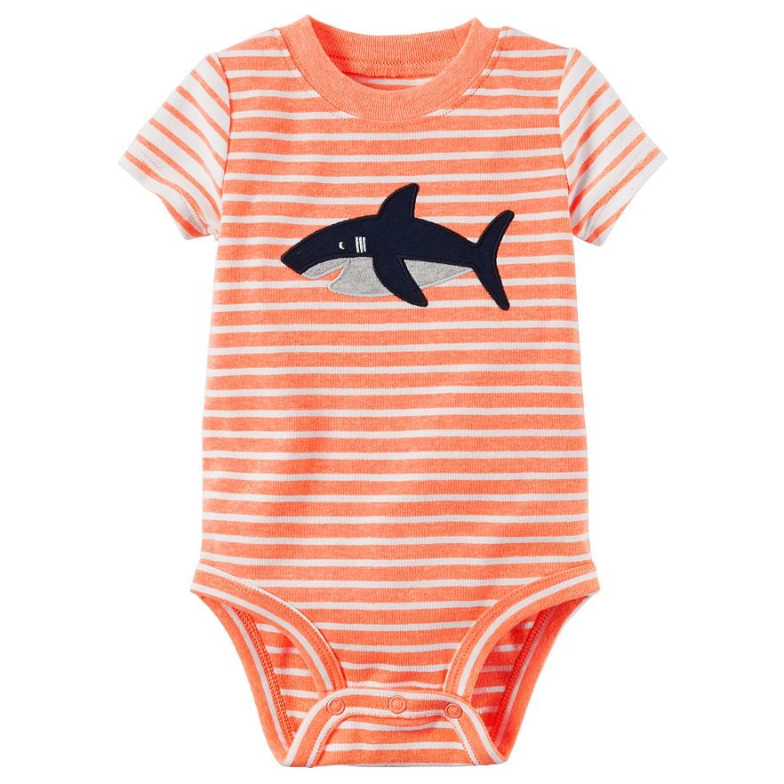 Carter's Baby Boy Striped Shark Bodysuit