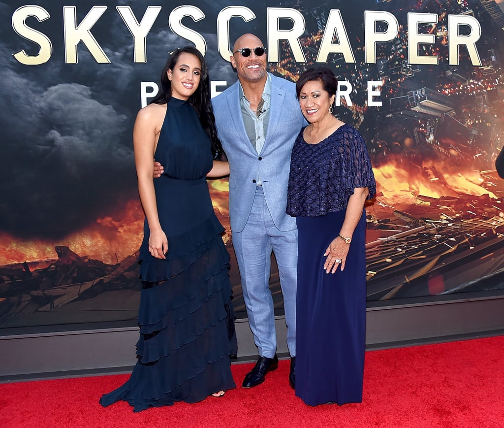 Dwayne Johnson and Daughter at Skyscraper Premiere
