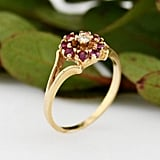 Etsy Vintage Faux Ruby Flower Ring