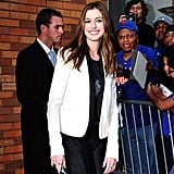 Anne Hathaway at The Daily Show With Jon Stewart.