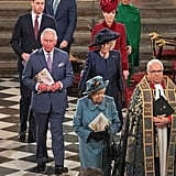 In 2020, the queen attended Commonwealth Day service with Prince William, Prince Harry, Kate Middleton, and Meghan Markle.