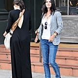 Courteney Cox and a friend waited for the valet.