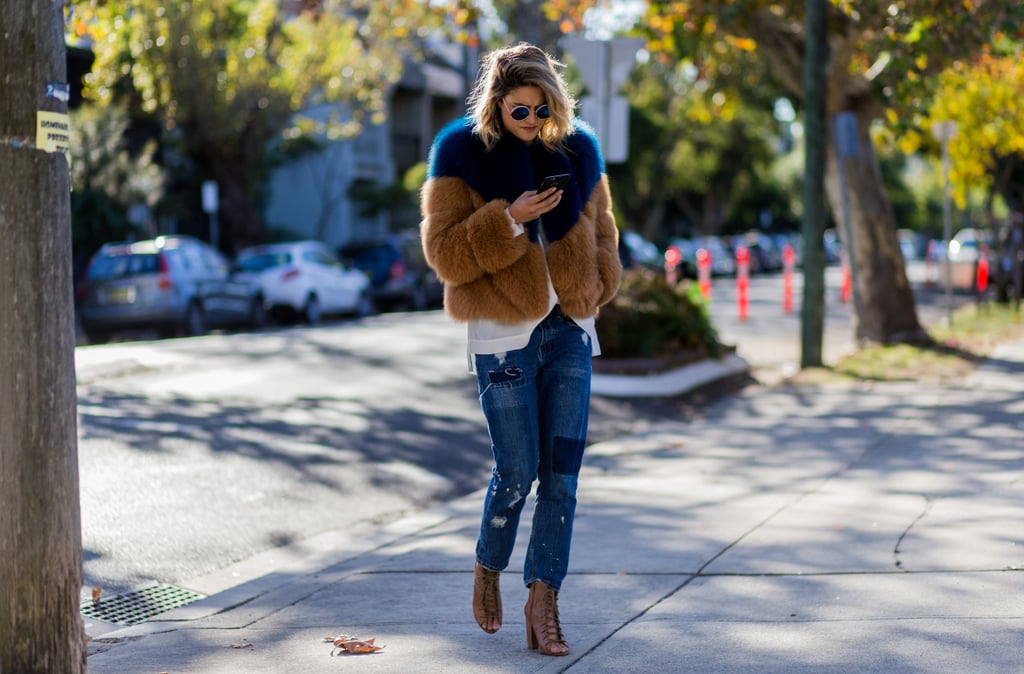 A Furry Coat Is a Stylish Update to Casual Denim